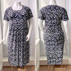 NINA LEOPARD Empire Waist Pleated Dress